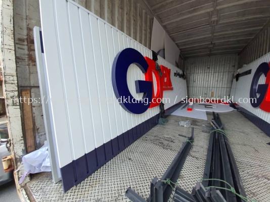GDEX aluminium ceiling trism base and 3d led frontlit lettering signage signbaord at puchong kuala lumpur