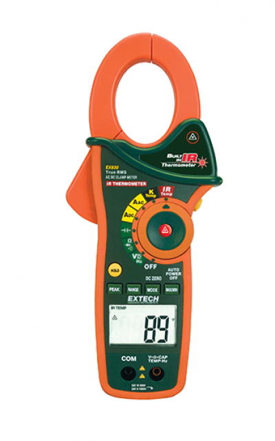 EXTECH EX830 : 1000A True RMS AC/DC clamp meter with IR Thermometer