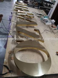 merazo stainless steel gold mirror 3d led backlit lettering signage signboard at klang kuala lumpur