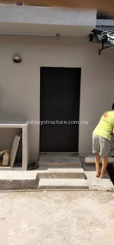 To fabrication,supply and install powder coated window grille and full plate door @ Jalan Belinjau 57,  Kepong Baru, 52100 Kuala Lumpur.