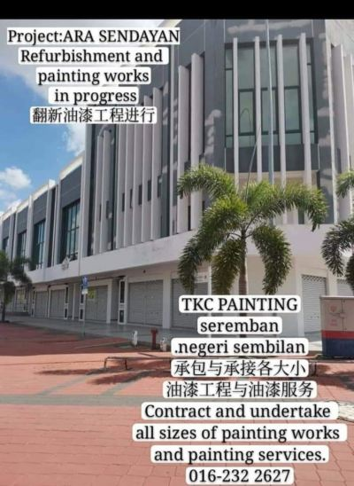 #PAINTING Project#ARA SENDAYAN.seeemban#2010# refurbishment and painting works completed#翻新油漆完成品#WANT PAINTED .FIND FOR US.要油漆.找我们!TKC PAINTING#seremban#Negeri Sembilan#拥有21年的油漆经验,让您安心,价格公道。#承包与承接各大小油漆工程与油漆服务Painting works in progress#Want Painted.find for us.要油漆,找我们!TKC PAINTING#Seremban #Negeri Sembilan #业各大小油漆 #单层#双层店屋 # 排屋#Banglo #半独立式#独立式#蓄水池#TNB#候车亭#酒店#工#神庙#学校 #住家… #店屋等各大小业 '油漆'……#Repainting work of all kind #building #ShopLot & #housing .#TNB SUB-STATION#BUS STOP SUB STATION#pump house#Fencing#Control/Blower Room…… #Painting Services- &#Painting Projects #package labor and materials。 #Shophouse #home #temple #factory#Tangki#and #school…… https://m.facebook.com/tkcpaintingN.S/?ref=bookmarks https://www.tkcpainting.com.myhttps://www.facebook.com/pg/tkcpaintingN.S/about/https://www.tkcpainting.com.my/ Ms Tan 016-232 2627https://wa me/60162322627