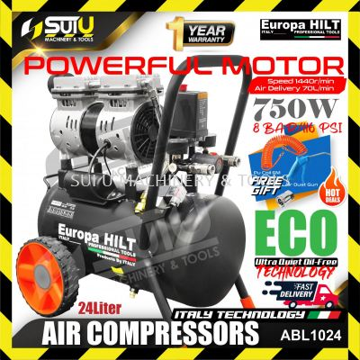 EuropaHilt ABL1024 1.0hp 24L Oil Free Air Compressors 8bar 750W w/ Free Gift