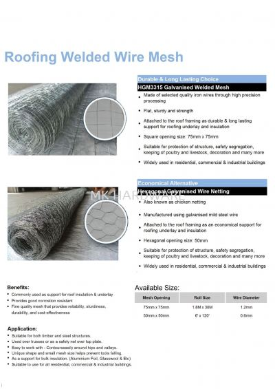 ROOFING WELDED WIRE MESH
