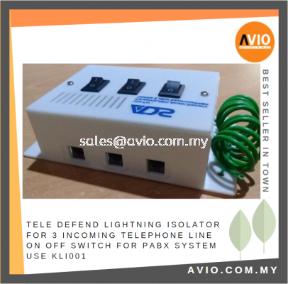 ADS TELE DEFEND Lightning Surge Isolator Protector for 3 Incoming Telephone Line On Off Switch for PABX System KLI001