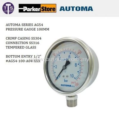Industrial Pressure Gauge, Tempered Glass SS304/Casing SS316/Connection #AG54~100 0~16bar/240psi