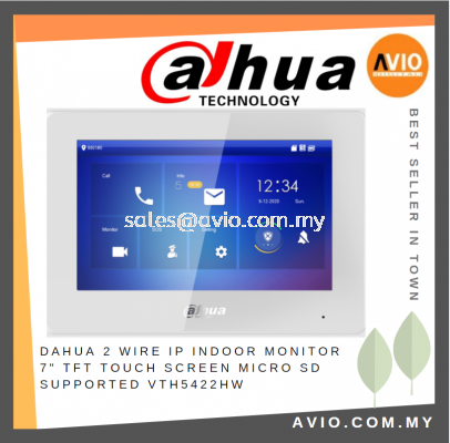"""Dahua 2-wire IP Indoor Monitor 7"""" TFT Touch Screen Micro SD Supported VTH5422HW"""