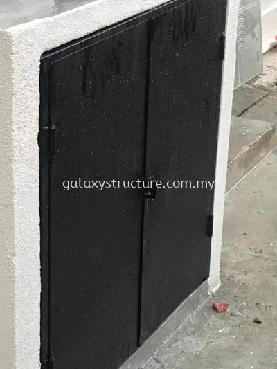 Rubbish door powder coated and skylight polycarbonate paint @ Jalan Belinjau 57, Kepong Baru, 52100 Kuala Lumpur.