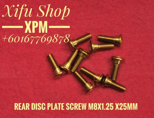 STAINLESS STEEL GOLD COLOR REAR DISC PLATE SCREW M8X1.25 X25MM(1 PACK 10PCS) LLEE