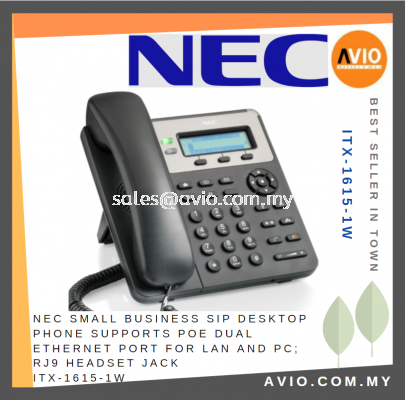 NEC Small Business SIP Desktop Phone Supports POE Dual Ethernet Port For Lan and PC RJ9 Headset Jack ITX-1615-1W