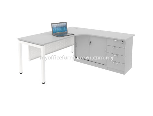 ULSC4D1818 U leg with L Shape Table, Side Cabinet and Fixed Pedestal 1800/700L x 1800/600W x 750H mm (Light Grey)
