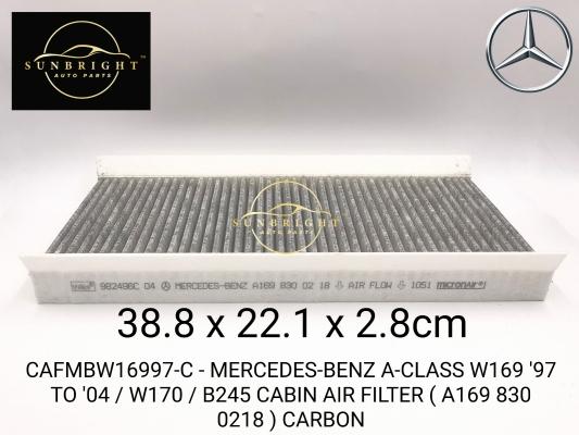 CAFMBW16997-C - MERCEDES-BENZ A-CLASS W169 '97 TO '04 / W170 / B245 CABIN AIR FILTER ( A169 830 0218 ) CARBON