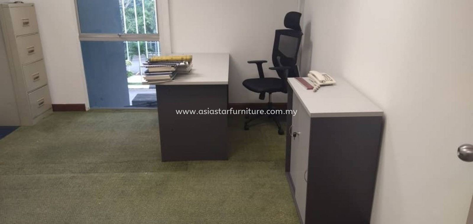 DELIVERY & INSTALLATION GT 157 WRITING OFFICE TABLE l GD 880 LOW OFFICE CABINET l HOSTA OFFICE MESH CHAIR l OFFICE FURNITURE l TAMAN DESA l KL