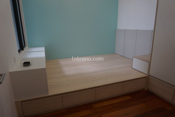 Custom made working table and tatami bed with drawer