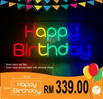 Birthday party neon led sign