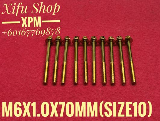 STAINLESS STEEL GOLD COLOR BOLT M6X1.0X70MM SIZE10 (1PACK 10PCS)