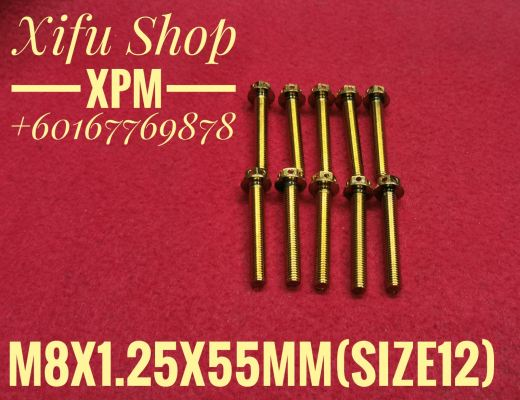STAINLESS STEEL GOLD COLOR BOLT M8X1.25X55MM SIZE12 (1PACK 10PCS)