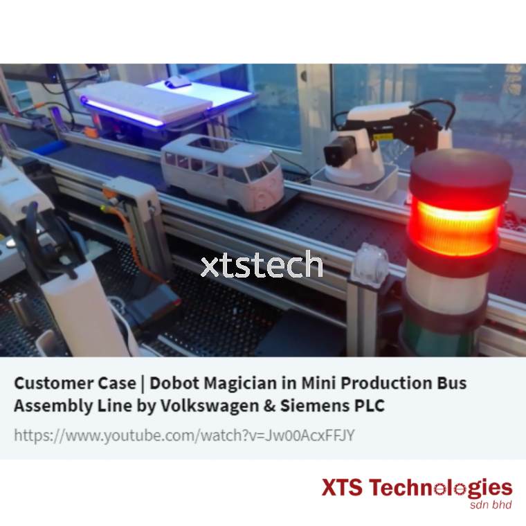 Dobot Magician in Mini Production Bus Assembly Line by Volkswagen & Siemens PLC 🤩