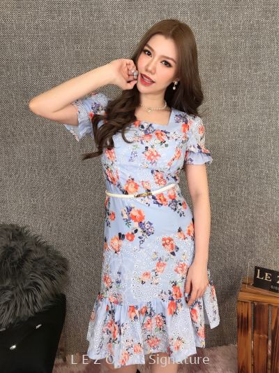 20116 Plus Size Ruffle Floral Sleeved Dress