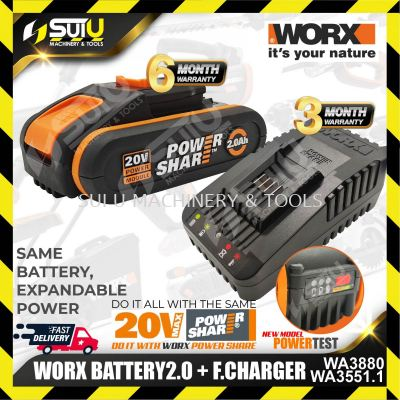 WORX WA3551.1 20V MAX 2.0AH Lithium Battery - With Indicator + WA3880 Fast Charger