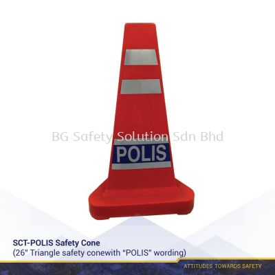 Triangle Safety Cone with POLIS Wording