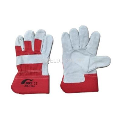 """BST 10.5"""" AB-1105 FULL PALM LEATHER HANDGLOVE (RED)"""