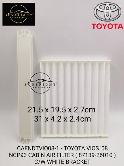 CAFNDTVIO08-1 -TOYOTA VIOS '08 NCP93 CABIN AIR FILTER ( 87139-26010 ) C/W WHITE BRACKET