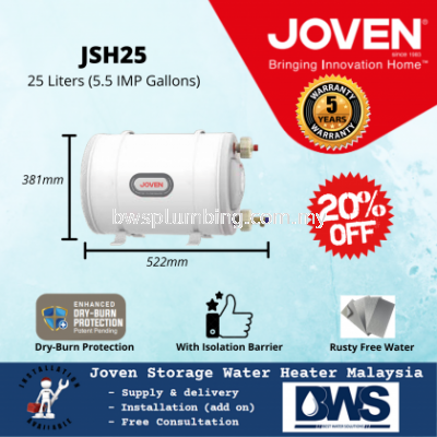 Joven JSH25 (25L) Storage Water Heater Tank - 25 Litres