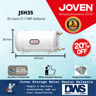 Joven JSH35 (35L) Storage Water Heater Tank - 35 Litres