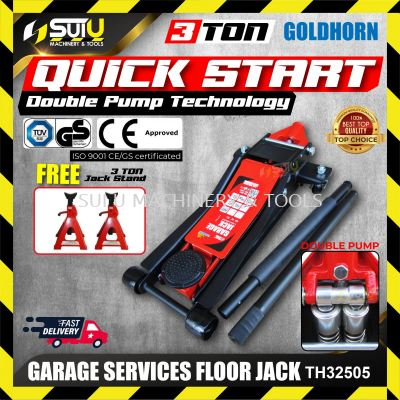 GOLDHORN TH32505 Heavy Duty 3 Ton Garage Services Floor Jack with 3 Ton Floor Jack Stand