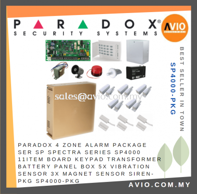 Paradox 4 Zone Alarm Package Set SP Spectra Series SP4000 11 Item Included SP4000-PKG