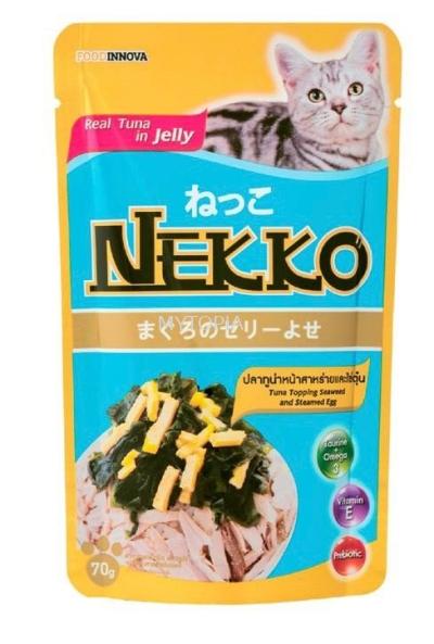 NEKKO CAT POUCH 70G -TUNA TOPPING SEAWEED & EGG