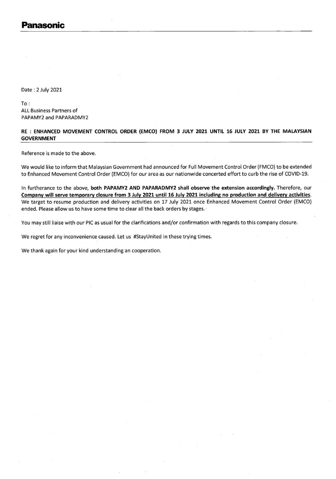 NOTICE ON EMCO FROM PANASONIC MALAYSIA AIR CONDITIONER COMPRESSOR FACTORY