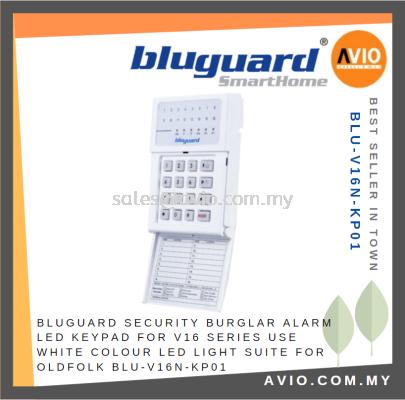 Bluguard Security Burglar Alarm LED Keypad for V16N V16 Series 16 Zone White Color Suit for Old Folk BLU-V16N-KP01