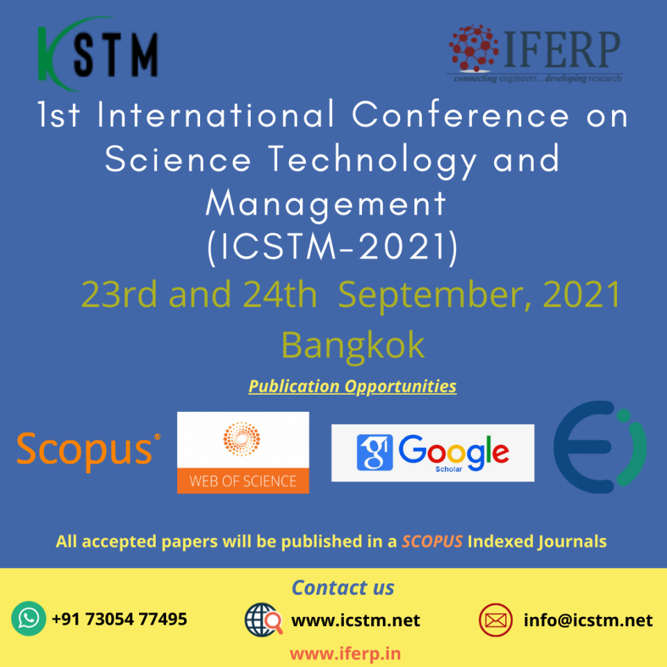 1st International Conference on Science Technology and Management September 2021