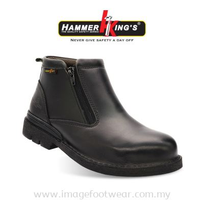 HAMMER KING'S Exclusive Safety 13003 (BLACK) Mens Shoes Mid Cut Dual Zipper Steel Toe Cap Leather Working Shoes