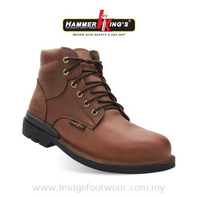 HAMMER KING'S Exclusive Safety 13004 (BROWN) Mens Shoes Mid Cut Lace-up Steel Toe Cap Leather Working Footwear