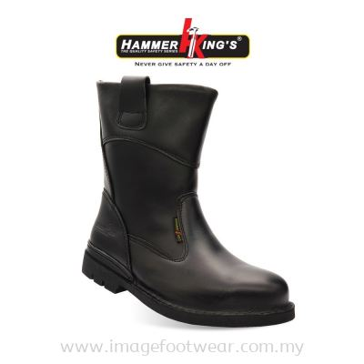 Hammer Kings Exclusive Safety 13005 (BLACK) Mens Shoes High Cut Pull-up Steel Toe Cap Leather Working Footwear