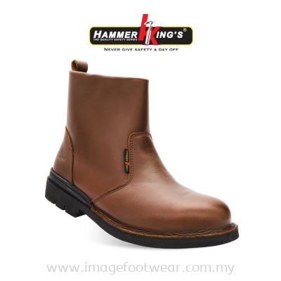 HAMMER KING'S Exclusive Safety 13006 (BROWN) Mens Shoes Mid Cut Single Zipper Steel Toe Cap Leather Working Shoes