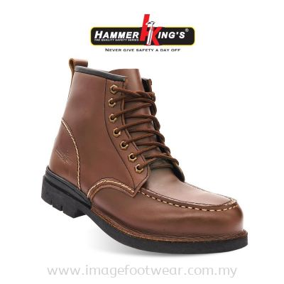HAMMER KING'S Exclusive Safety 13007 Mens Shoes Mid Cut Lace-up Steel Toe Cap Leather Working Shoe