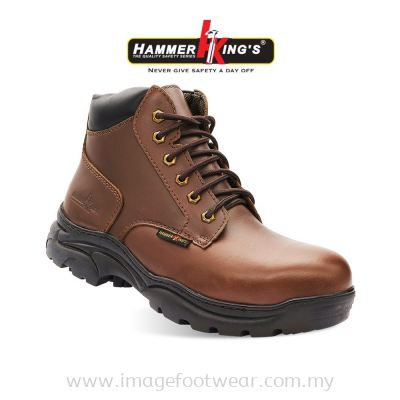 HAMMER KING'S Normal Safety 13014 Mens Shoes Mid Cut Lace-up Steel Toe Cap Leather Working Shoes