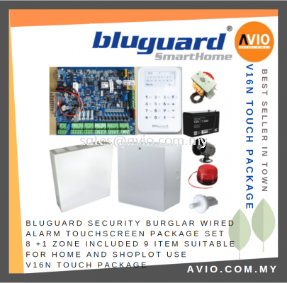 Bluguard Security Burglar Wired Alarm V16N V16 Touchscreen Package Set 8 +1 Zone Include 9 Item V16N Touch Package