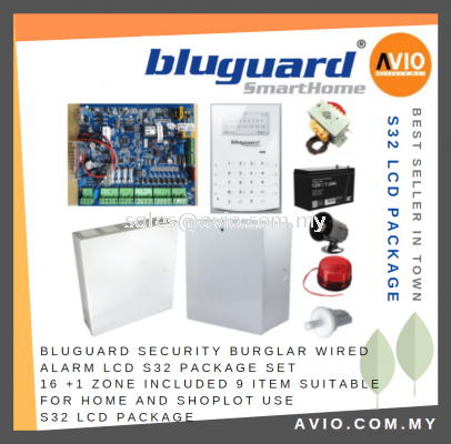 Bluguard Security Burglar Wired Alarm LCD S32 PACKAGE Set 16 +1 Zone include 9 Item Suit Home Shop use S32 LCD Package