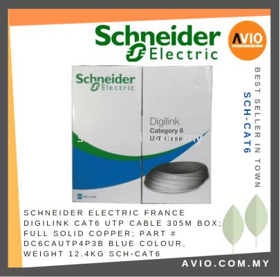 Schneider Electric France Digilink Cat6 UTP Cable 305m 305 Meter Full Solid Copper DC6CAUTP4P3B Blue 12.4KG SCH-CAT6
