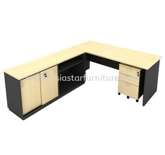 5' OFFICE TABLE | STUDY TABLE | COMPUTER TABLE C/W DUAL SIDE CABINET & MOBILE DRAWER 2D1F SET - office table set Sale Promotion Offer KL-PJ-Selangor-Malaysia | office table set Direct From Factory Price