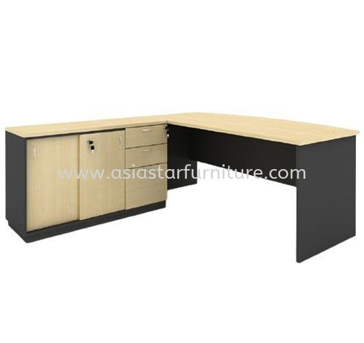 6' EXECUTIVE OFFICE TABLE C/W SIDE CABINET SLIDING DOOR + FIXED PEDESTAL 2D1F - office table Sri Hartamas | office table Mont Kiara | Solaris Dutamas | office table Publika
