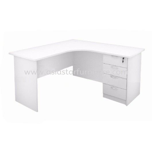 5' L SHAPE OFFICE TABLE WITH FIXED PEDESTAL 4D (Full White) - L shape table Puchong | L shape table Cheras | L shape table Shah Alam | L shape table Bandar Baru Klang