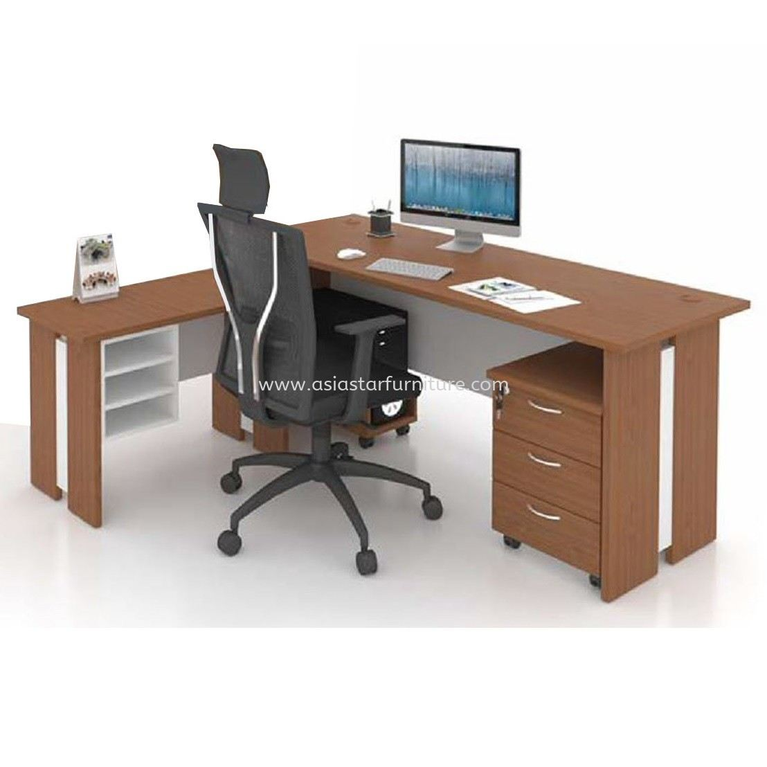 FAMAH 6' OFFICE TABLE C/W SIDE TABLE & DRAWER 3D SET (COLOR CHERRY) - office table set Sri Petaling | office table set Seri Kembangan | office table set Sungai Besi | office table set Balakong