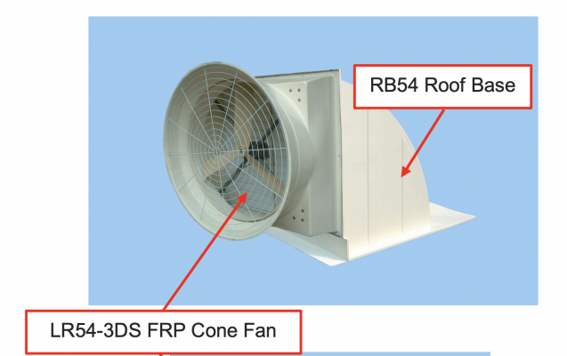 LR54-3DS Cone Exhaust Fan with RB54 Roof Base