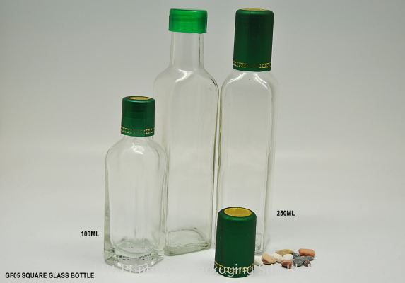 100ml ,250ml Clear Square Glass Bottle