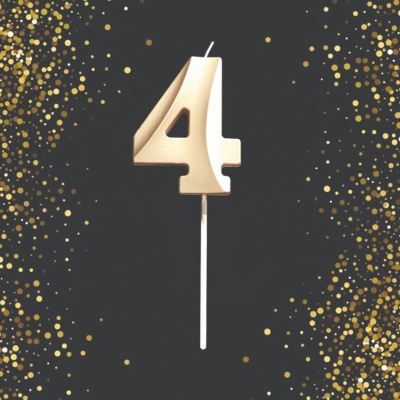 Number Candle - 4 (Gold) (CDL-NB-G4)